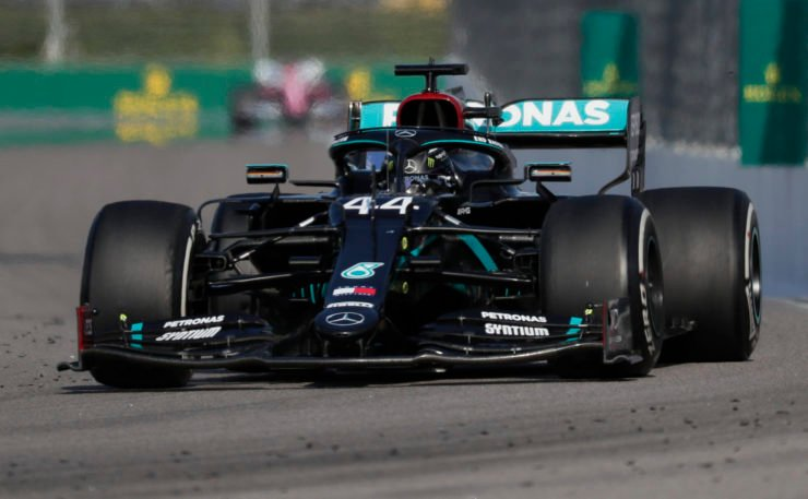 Mercedes' Lewis Hamilton in action during the race at Russian Grand Prix 2020
