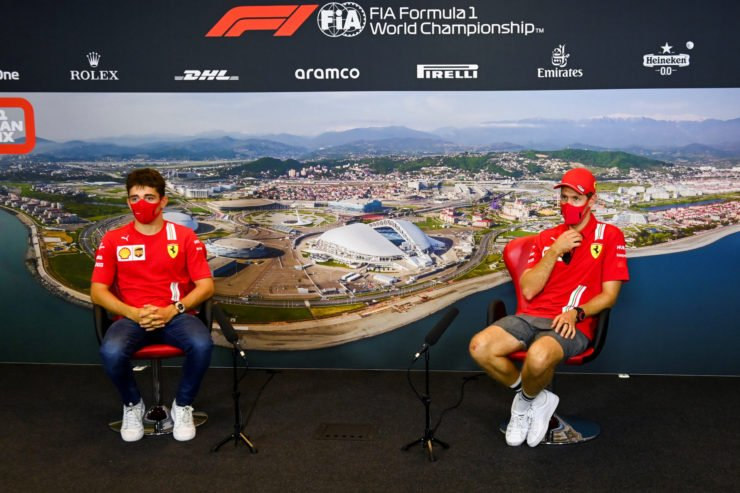 Ferrari drivers Sebastian Vettel and Charles Leclerc at a press conference in Sochi