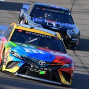 Kyle Busch and Kevin Harvick in action in NASCAR Cup Series