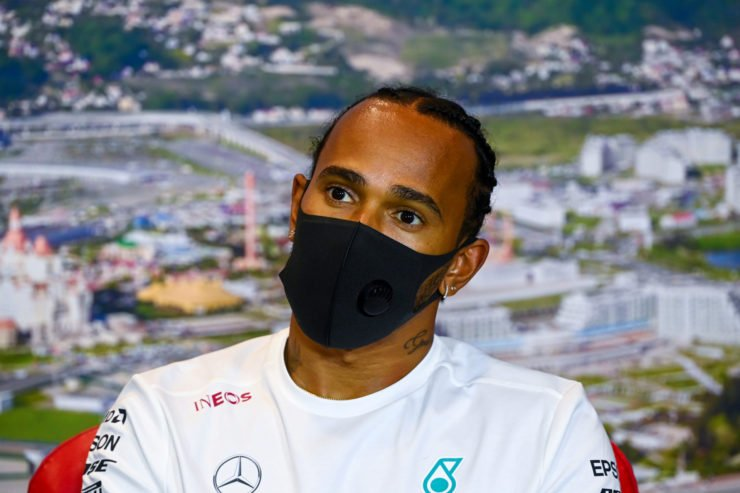 Mercedes' Lewis Hamilton at a press conference in Russia