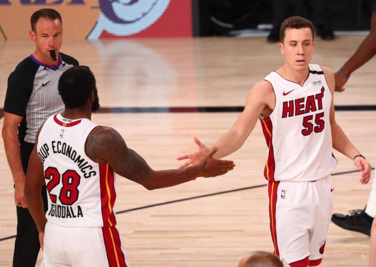 Duncan Robinson and Andre Iguodala during Miami Heat vs Boston Celtics in ECF Game 6
