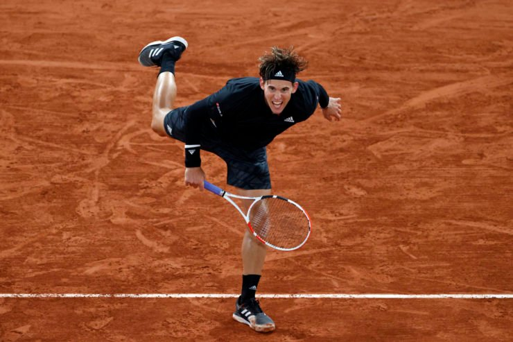 Dominic Thiem in action at French Open 2020