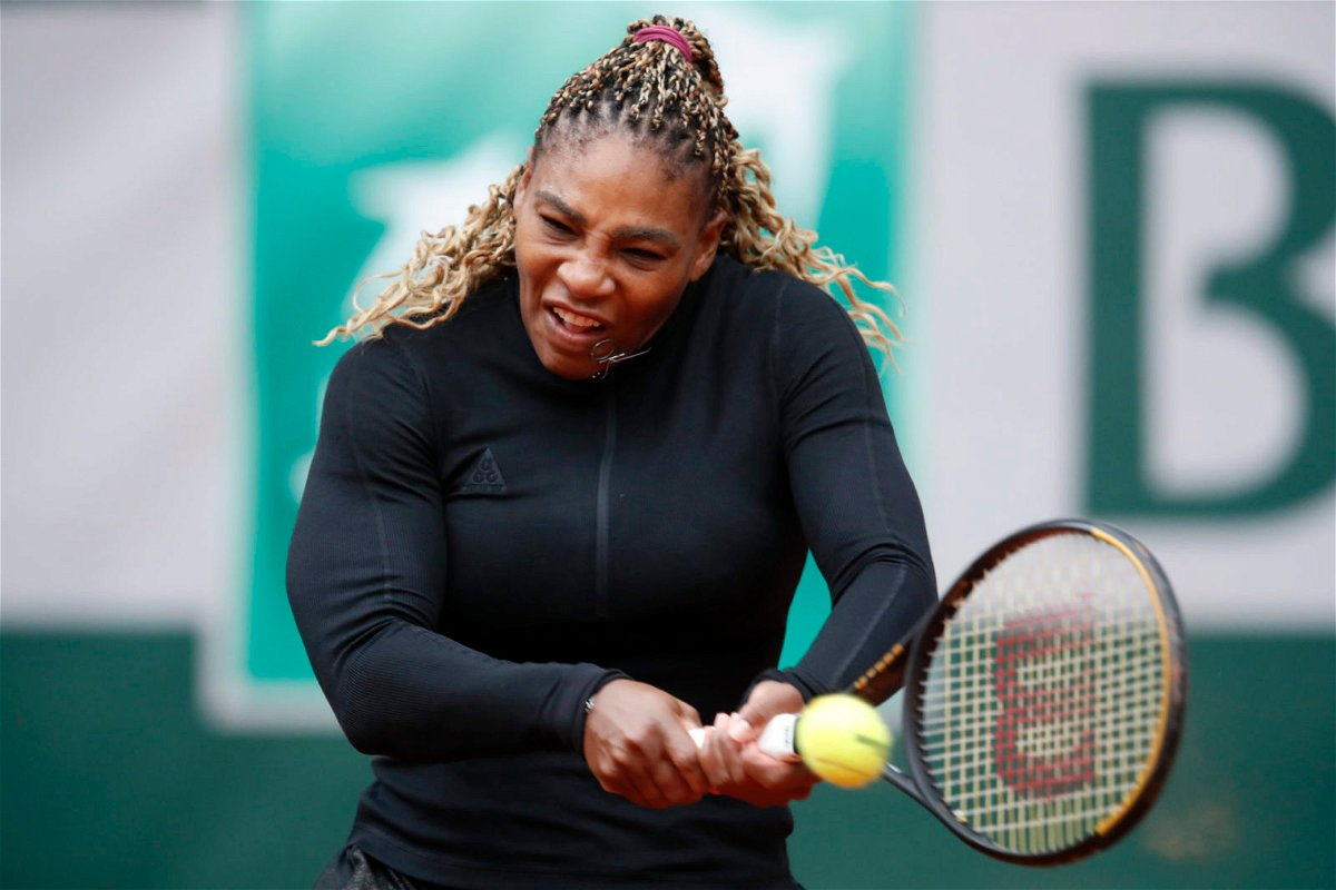 Serena Williams in action at French Open 2020