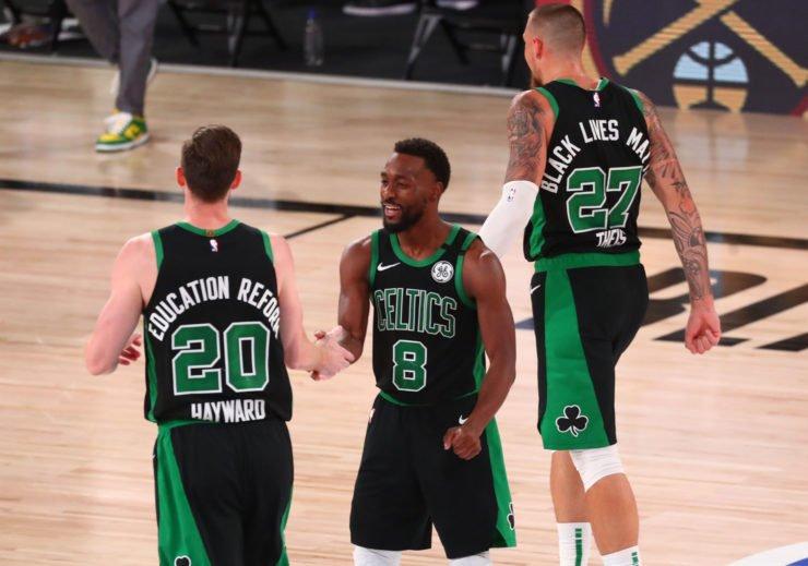 Gordon Hayward and Kemba Walker of the Boston Celtics