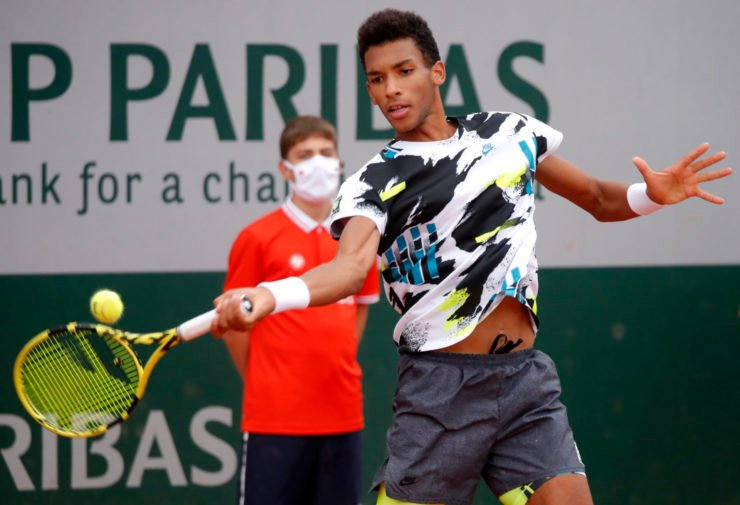 Felix Auger Aliassime at the 2020 French Open