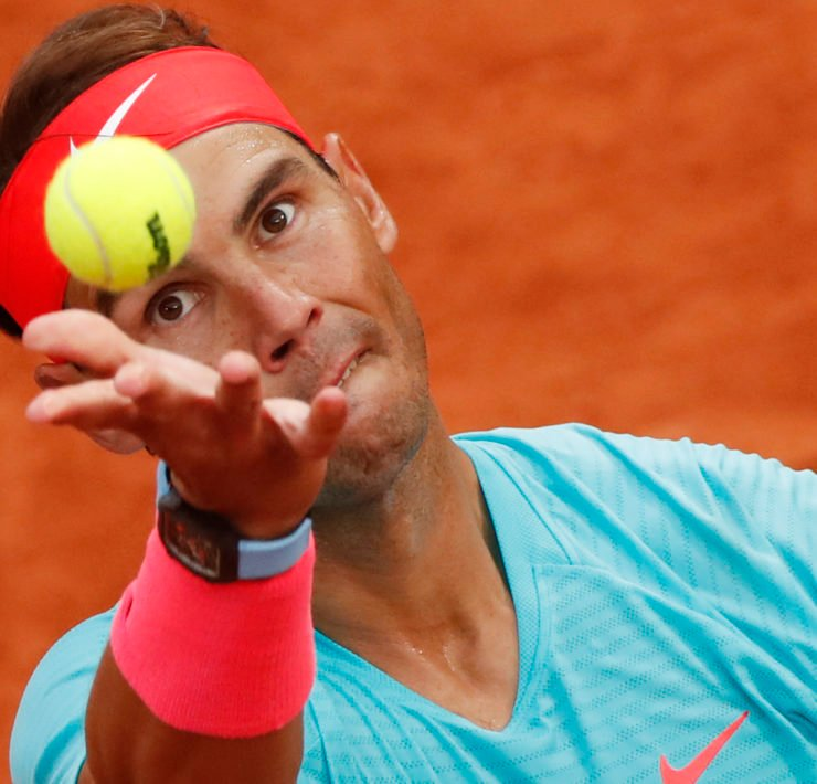 Rafael Nadal serves in his opening match of the French Open 2020