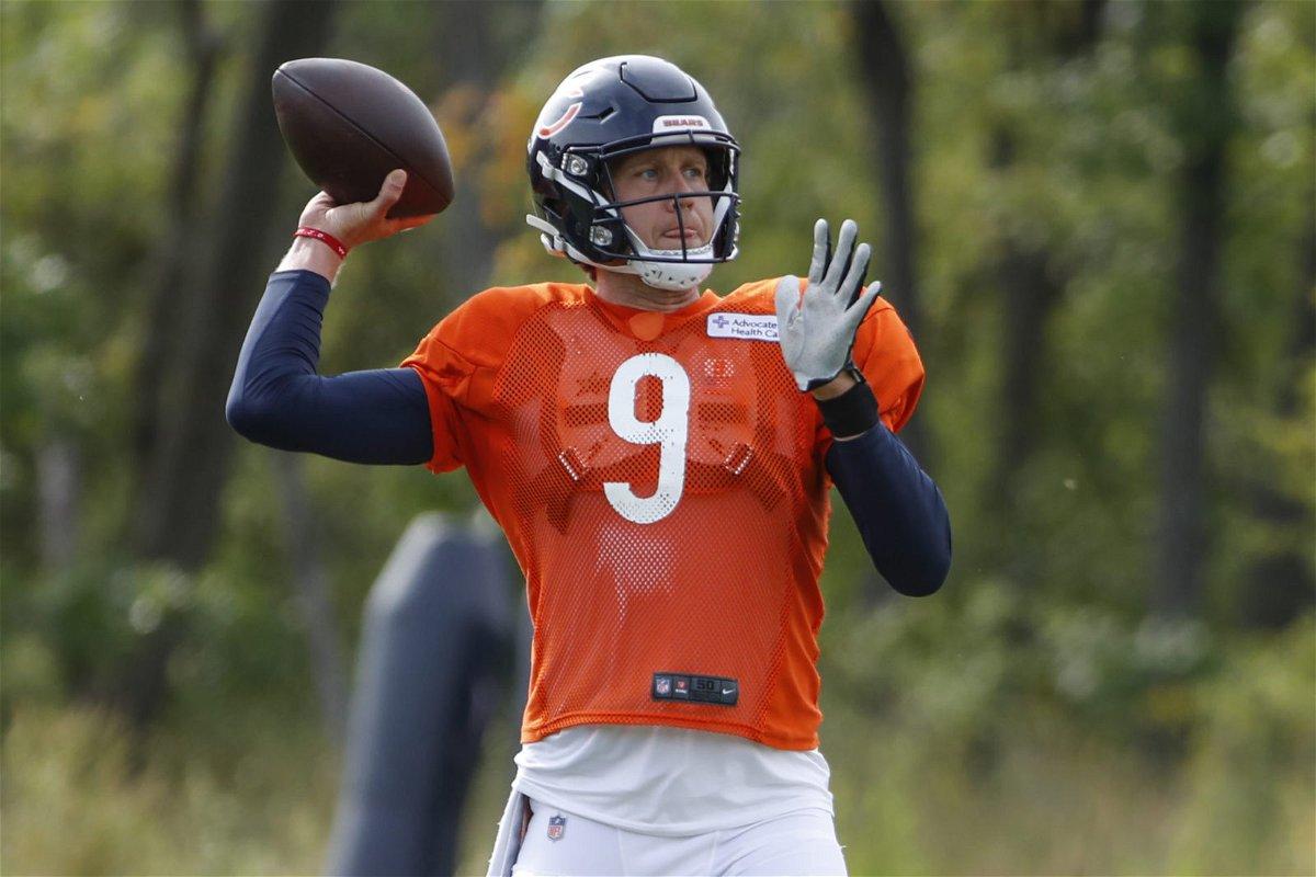 Chicago Bears quarterback Nick Foles showcases his throwing skills during training.