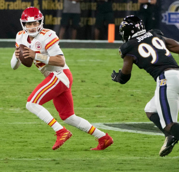 Kansas City Chiefs quarterback Patrick Mahomes attempts to make a play against Baltimore Ravens in Week Three.