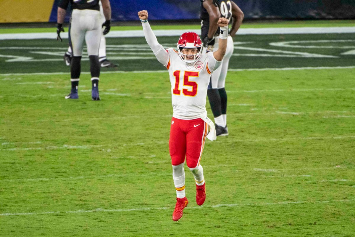 Kansas City Chiefs quarterback Patrick Mahomes celebrates after completing a touchdown against Baltimore Ravens in Week Three.