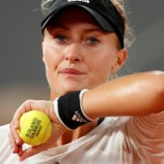 Kristina Mladenovic dejected as she lost a fair point and the match in French Open 2020