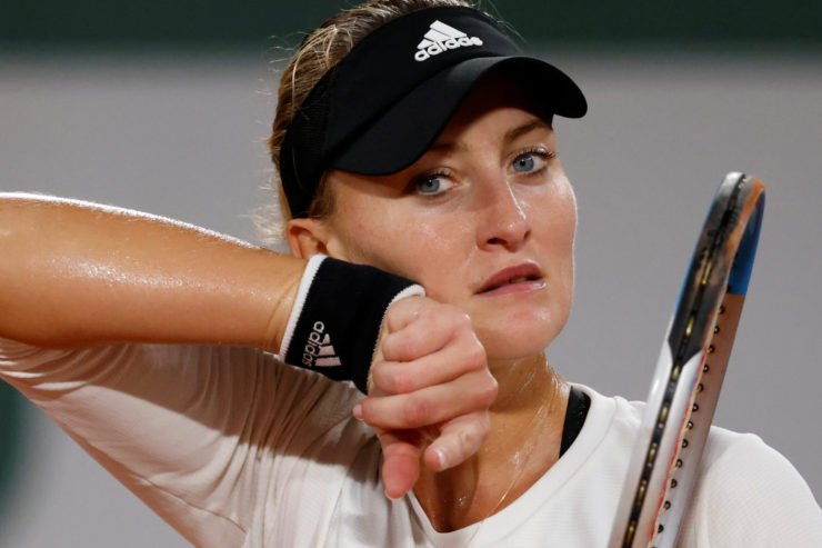 Kristina Mladenovic during her first round match in the French Open 2020