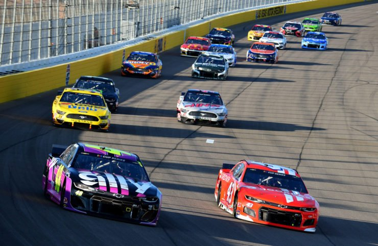Bubba Wallace and Jimmie Johnson in action in NASCAR Cup Series