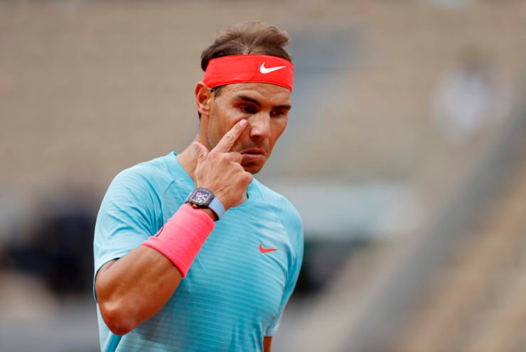 Rafael Nadal reacts at French Open 2020