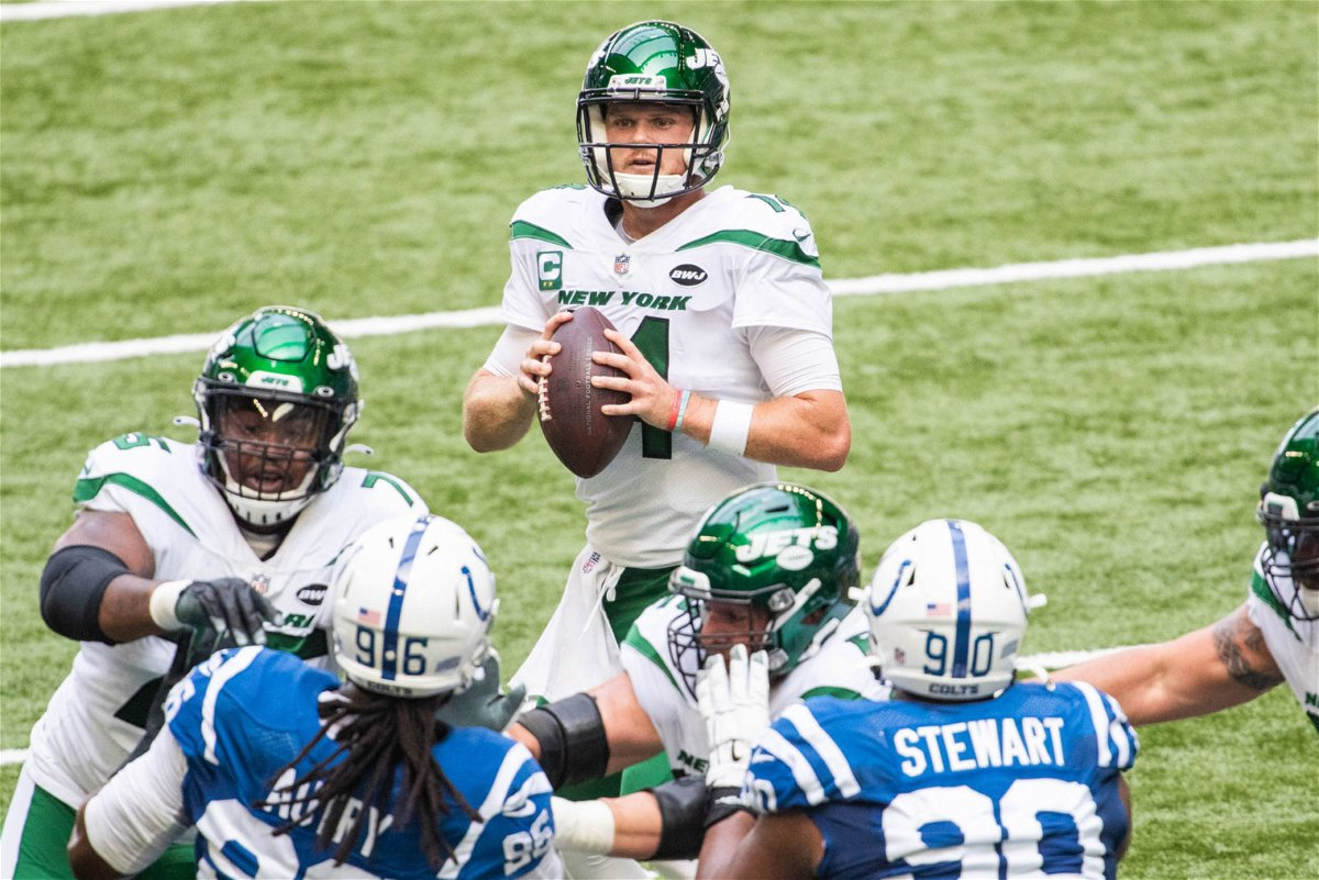 New York Jets quarterback Sam Darnold attempts to make a play against Indianapolis Colts in Week Three.