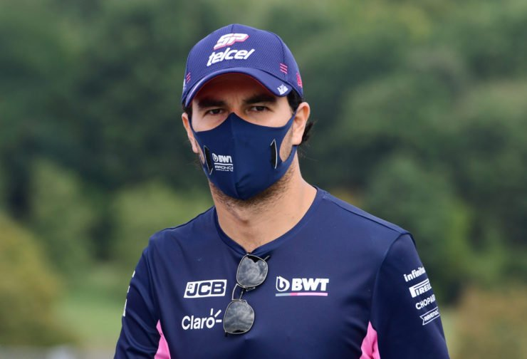 Sergio Perez of Racing Point looks on ahead of the Tuscan Grand Prix