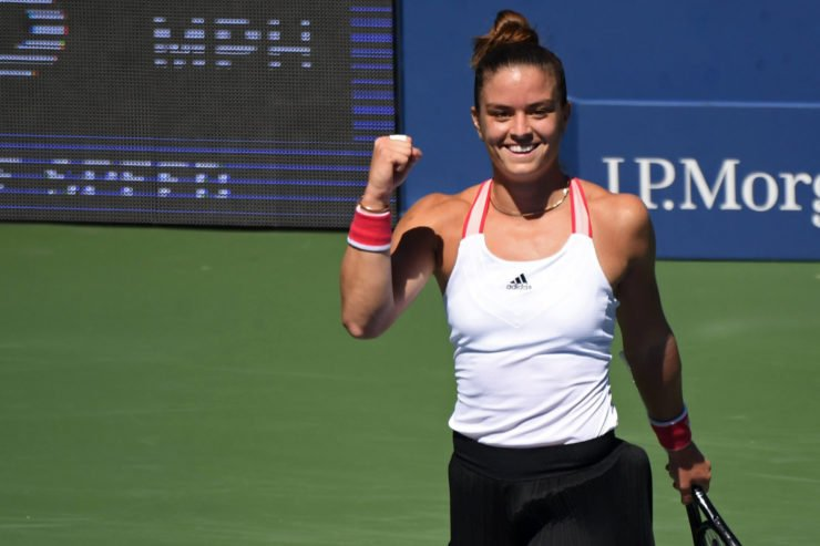 Maria Sakkari celebrates at US Open 2020