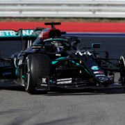 The Mercedes of Lewis Hamilton in action at the Russian Grand Prix