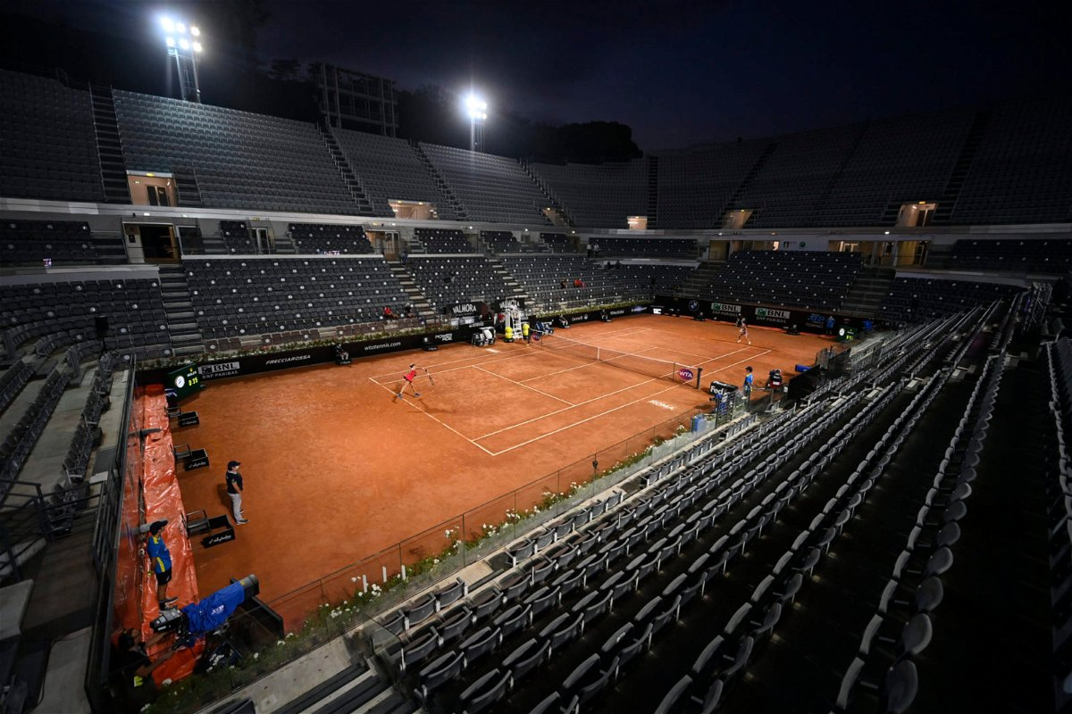 An empty tennis court in Rome
