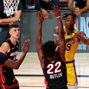 Miami Heat vs Los Angeles Lakers in action in NBA Finals Game 1