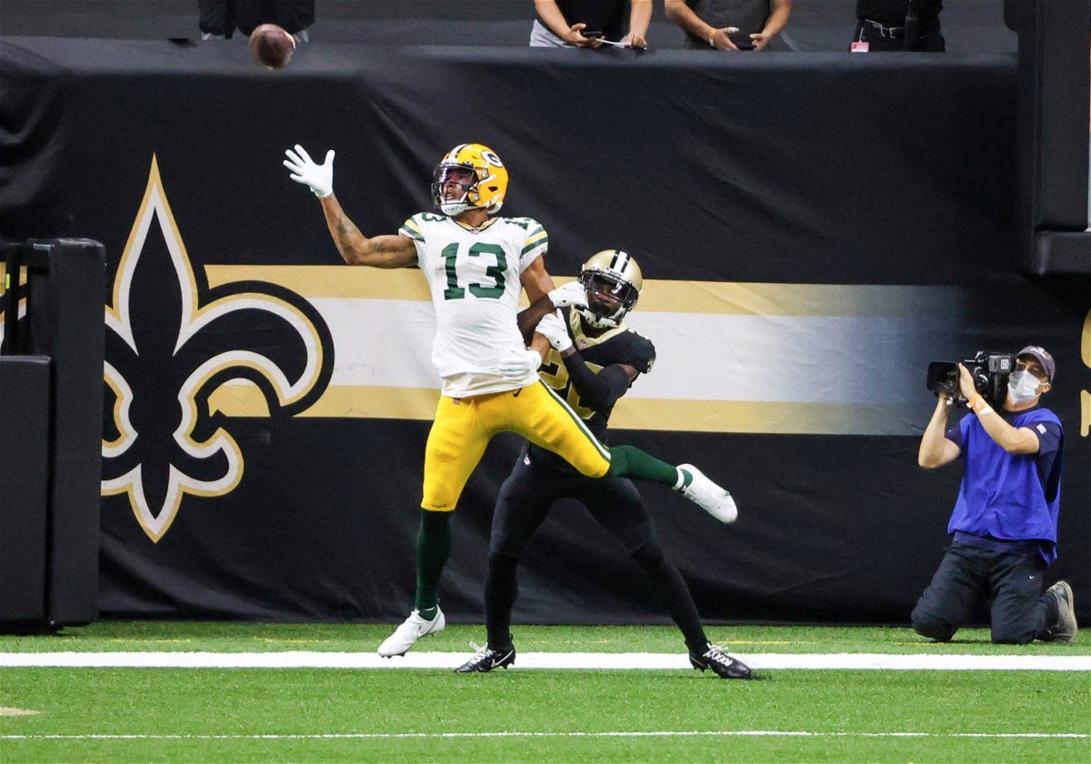 Green Bay Packers wide receiver Allen Lazard attempts to make a catch against New Orleans Saints in Week Three.