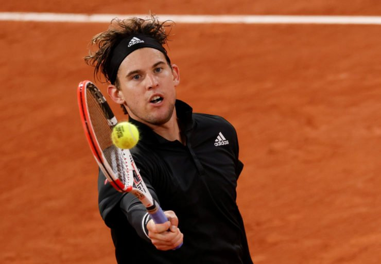 Dominic Thiem in action in French Open 2020