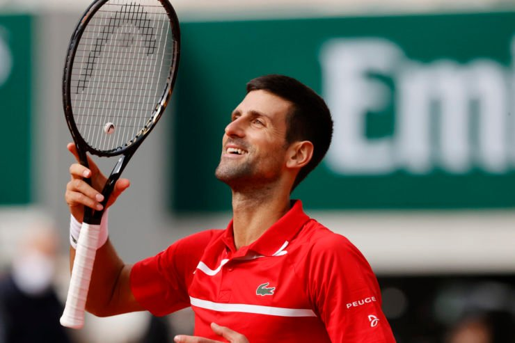 Novak Djokovic celebrates after a win in the French Open 2020