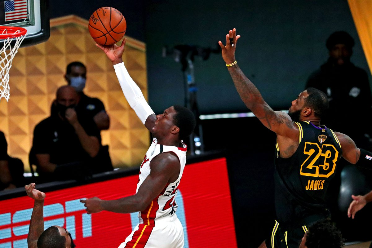 Lakers' LeBron James attempting to block Jimmy Butler in 2020 NBA Finals