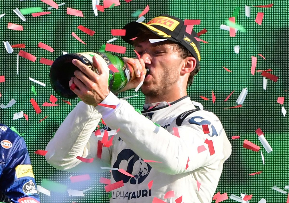 Pierre Gasly Drinks it all in as he celebrates his Maiden F1 win in Monza after the Italian Grand Prix