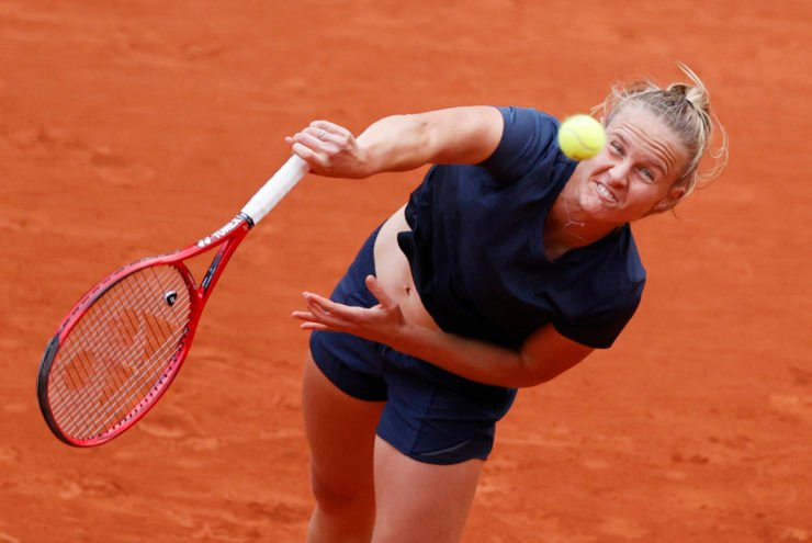 Fiona Ferro in action in the French Open 2020
