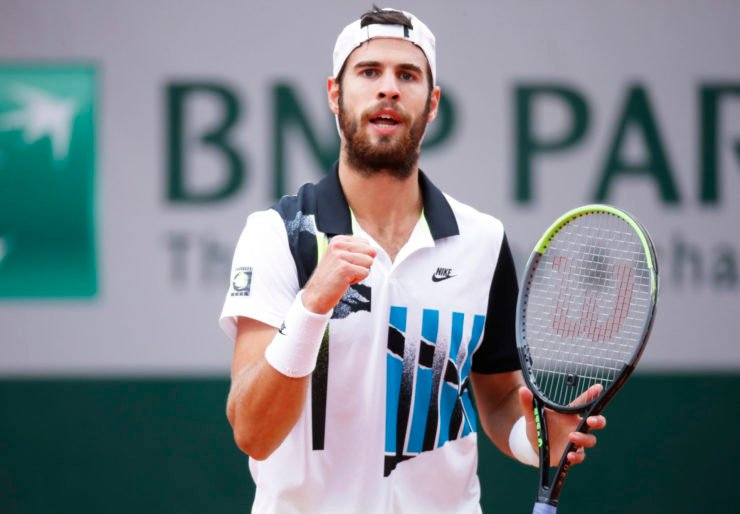 Karen Khachanov celebrates at French Open 2020