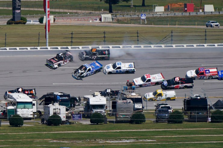 Drivers crash during the NASCAR Truck Series
