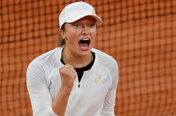 Iga Swiatek after her victory against Simona Halep