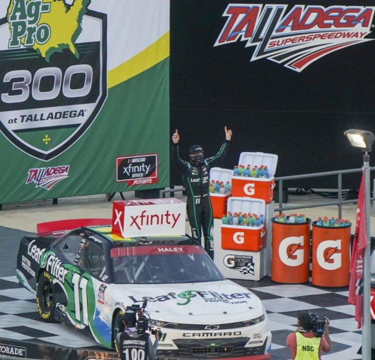 Justin Haley celebrates his win in NASCAR Xfinity Series