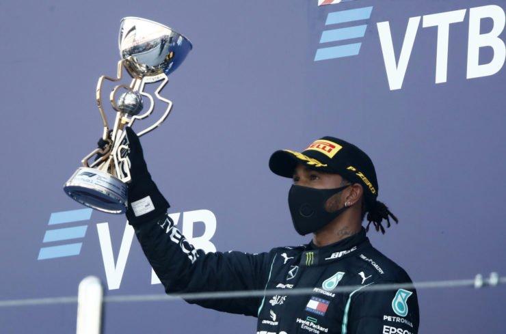 Lewis Hamilton Celebrating On The Russian GP Podium