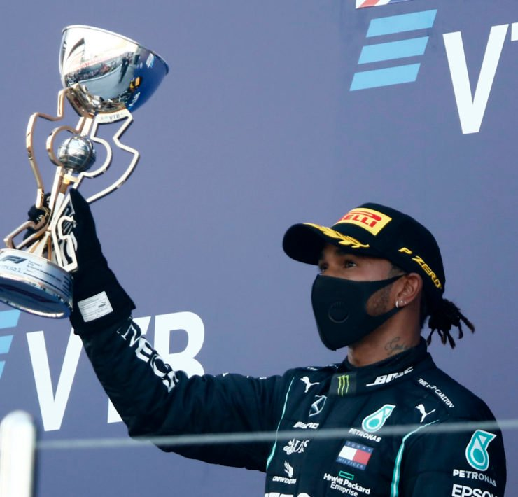 Lewis Hamilton Celebrating On The Russian GP Podium