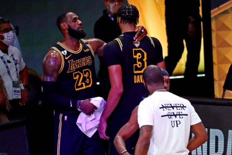 Lakers' star duo, LeBron James and Anthony Davis celebrate after Finals game