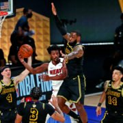 Los Angeles Lakers forward LeBron James against Miami Heat forward Jimmy Butler