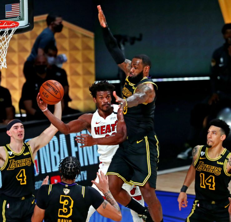 Los Angeles Lakers forward LeBron James against Miami Heat forward Jimmy Butler