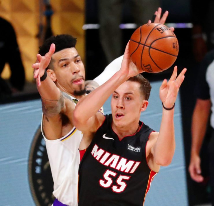 Miami Heat guard Duncan Robinson against Danny Green of the Los Angeles Lakers