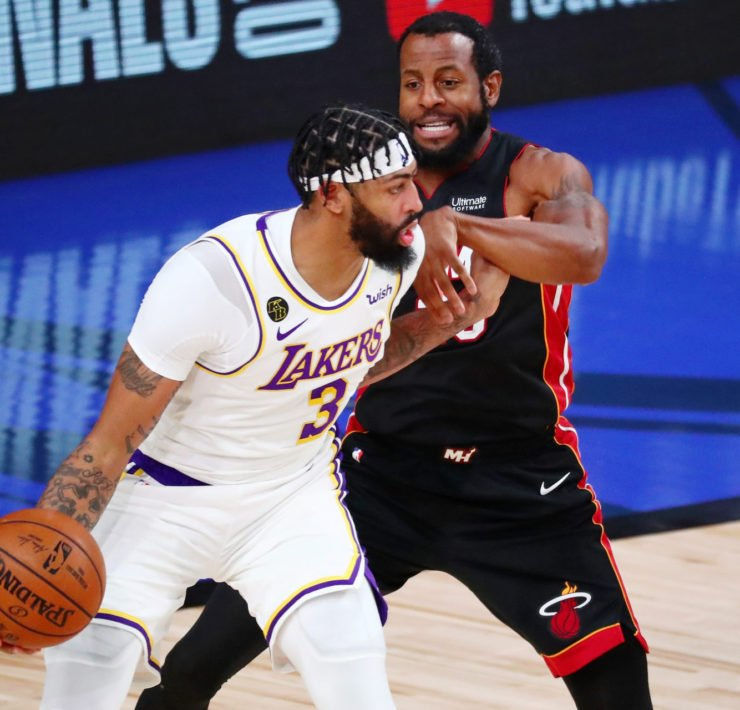 Los Angeles Lakers center Anthony Davis and Miami Heat's Andre Iguodala