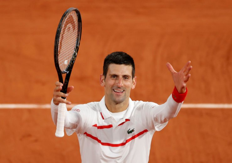 Novak Djokovic celebrates at French Open 2020