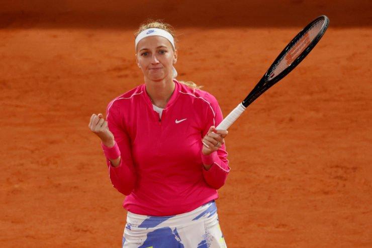 Petra Kvitova celebrates her win in the French Open 2020