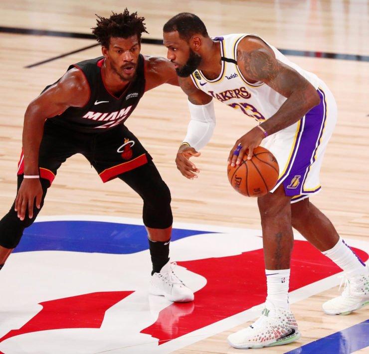 Jimmy Butler defends LeBron James during NBA Finals Game 3