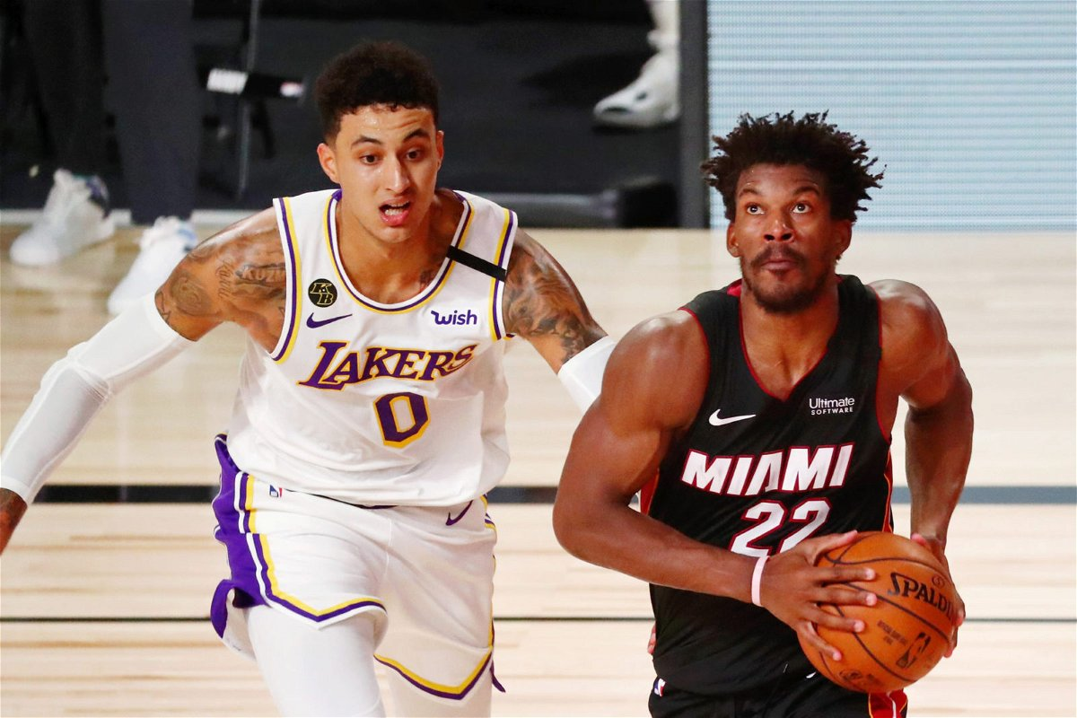 Jimmy Butler and Kyle Kuzma in action during Game 3