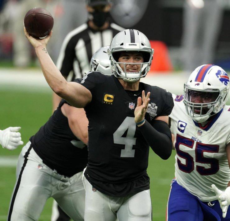 Las Vegas Raiders quarterback Derek Carr attempts to make a throw against Buffalo Bills in Week Four.