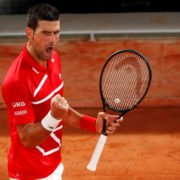 Novak Djokovic celebrates after winning a point at French Open 2020