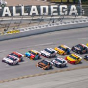Drivers in action in the NASCAR Cup Series at Talladega Superspeedway