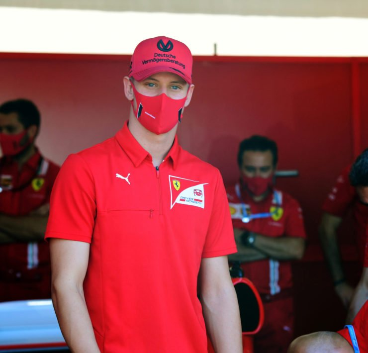 Mick Schumacher in the F1 paddock prior to a race in Tuscany
