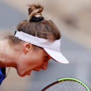 Elina Svitolina reacts after she lost a point in the French Open 2020