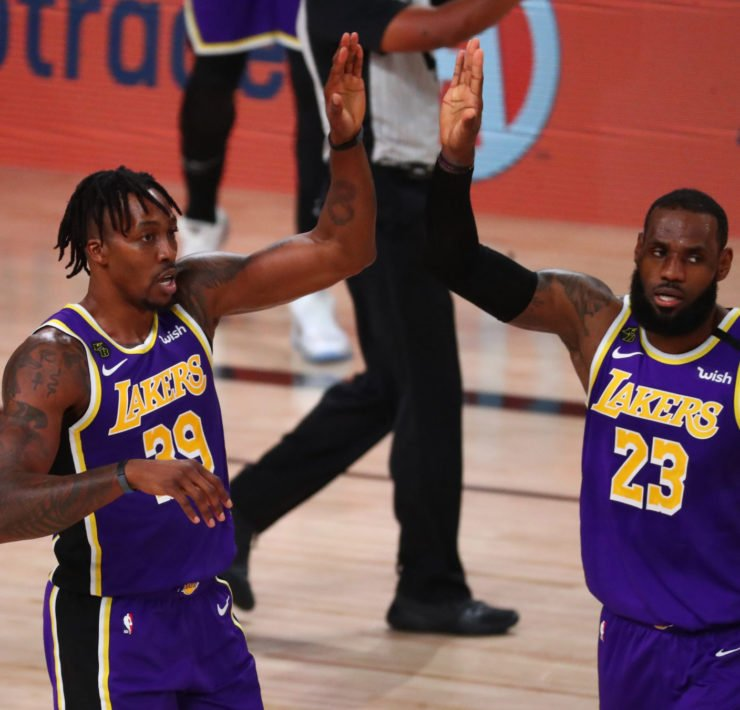 Dwight Howard and LeBron James celebrate during Lakers vs Heat Finals